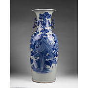 SOLD Qing Dynasty Chinese Celadon Ground Blue Underglaze Porcelain Vase
