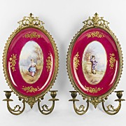 SALE Hand Painted Paris Porcelain Plaques Mounted In Ormolu As Sconces