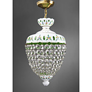 SALE Bohemian Green Glass Cut Overlay Chandelier