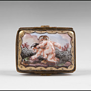 SALE Late 19th C. German Porcelain Capodimonte Style Bas-relief Pill Box