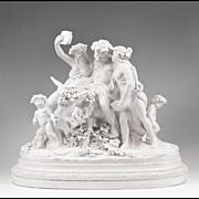 SALE 19th C. Glazed Italian Terracotta Allegorical Sculptural Grouping