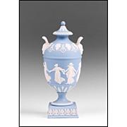 SALE 1899 Blue Jasper Dip Wedgwood Urn, Dancing Hours
