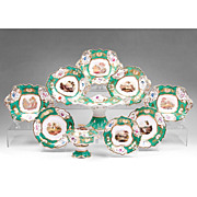 SALE 1830-40 English Scenic Rockingham Ten Piece Rococo Dessert Set