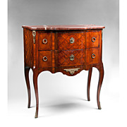 SALE 19th C. Louis XV Petite Marquetry Commode Marble Top