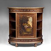 SALE Late 19th C. Vernis Martin Demilune Cabinet