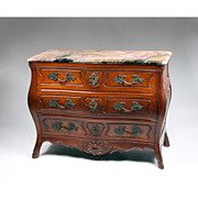 SALE Late 19th C. French Provincial Walnut Louis XV Bombe Commode