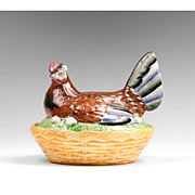 SALE Late 19th C. Staffordshire  Hen on Basket Weave Nest