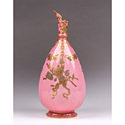 SALE 1877-90 Pink Ground Gilt And Enamel Decorated Royal Crown Ewer