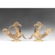 SALE Pair of Brass Venetian Gondola Cavallis or Sea Horses