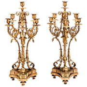 SALE Late 19th C. Napoleon III Bronze Candelabras After Alfred Beurdeley