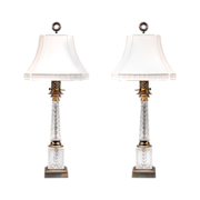 Pair of French Crystal Column Lamps Mounted In Ormolu