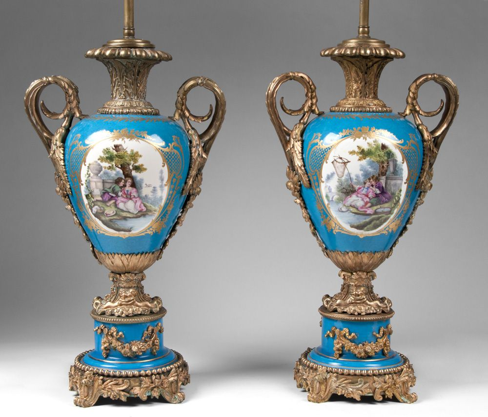 Pair Of Bleu Celeste French Sevres Porcelain Lamps Mounted