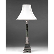 SALE Mid 20th C. Green Marble And Silver Column Lamp