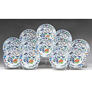 SALE Set of Twelve Davenport Plates, Pattern Number 6 Color, 1845