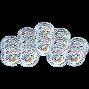 SALE Set of Twelve Davenport Plates, Pattern Number 6 Color, 1845