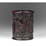 SALE 19th Century Chinese Carved Bamboo Brush Pot