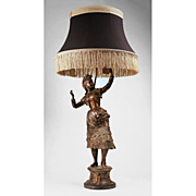 SALE 19th C. French Bronze Patinated Spelter Gypsy Dancer Fitted As Lamp