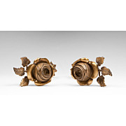 SOLD Pair of Mid 20th C. French Ormolu Rose Cast Tiebacks