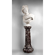 SALE Late 19th C. Italian Marble Bust of the Apollo Belvedere With Pedestal, After Original