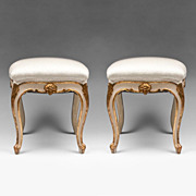 SALE Pair of 19th Century Rococo Venetian Painted Tabourets Or Stools