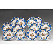 SALE Set of 12 Davenport Dessert Plates, Hand Painted Scenes, 1830 – 1855