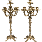 SALE Pair of Late 19th C. Louis XV Style Bronze Candelabras, Six Lights