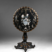 SALE English Victorian Papier Mache Japanned Tilt Top Table