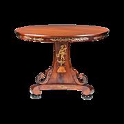 SALE Neoclassical Style 19th C. Italian Walnut Center Pedestal Table