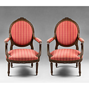 SALE Pair of Louis XVI Hand Carved Fauteuils Or Armchairs