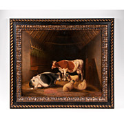 SALE 19th C. Oil on Canvas of Cows and Sheep in Barn