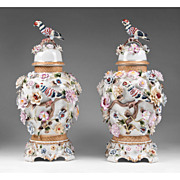 Richard Klemm Dresden Porcelain Urns Floral And Bird Encrusted