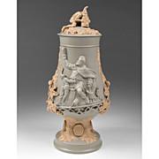SALE German Mettlach Relief Stoneware Pokal, Gambrinus Drinking
