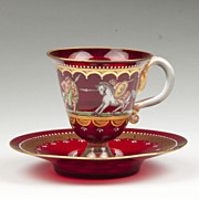 SALE Murano Venetian Enameled Ruby Glass Cup & Saucer
