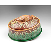 SALE George Jones Majolica Game Dish & Liner With Quail On Cover