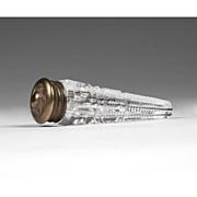 SALE 19th C. German Cut Glass Lay Down Perfume Bottle, Brass Top