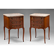 SALE Pair of Vintage Louis XV Style Commodes With Floral Inlay