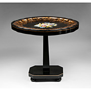 SALE English Papier Mache Tray With Pedestal Stand