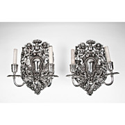 SALE Pair of Silverplate Two Light Sconces by E. F. Caldwell