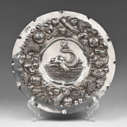 SALE 19th Century German Silver Charger