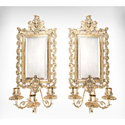 SALE Pair of Late 19th C. Heavy Cast Brass Mirror Sconces, Triple Arms