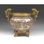 19th C. Satsuma Center Bowl Mounted With Bronze Frame