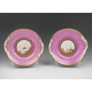 SALE Pr. 19th C. English Scenic Hand Painted Cake Plates