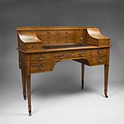 SALE Maple & Co. Edwardian Painted Satinwood Carlton House Desk