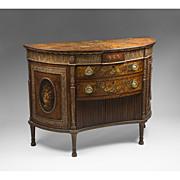 SALE George III Painted Adams Satinwood Demilune Cabinet