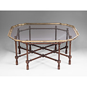 SALE Vintage Baker Furniture Faux Bamboo Coffee Table With Glass Top