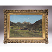 SALE Oil On Canvas By Ernest Victor Hareux, Mountain Landscape