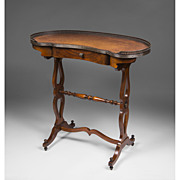 SALE Early 20th C. Regency Style Kidney Shaped Writing Table