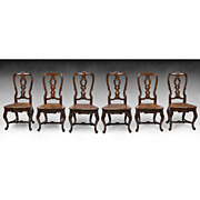 SALE Set of Six Mid 19th C. Spanish Portuguese Queen Anne Side Chairs