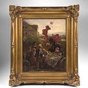 SALE Contemporary German Oil On Board Of Children With Balloon Man