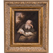 SALE 19th C. Berlin KPM Porcelain Plaque, The Hermit